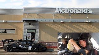 Download Driving an ILLEGAL Lamborghini Racecar thru McDonalds w/Tanner Fox Video