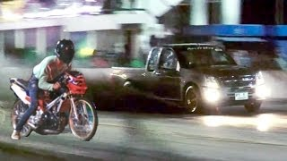Download MOPED vs pickup TRUCK Drag Racing (isuzu dmax versus 2 stroke motorcycle. Car vs Bike race) Video