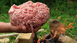 Download GOAT MEAT IN JUNGLE    CUTLET WITH MY ROTTWEILER    GOAT MEAT RECIPES   COOKING IN WILD Video