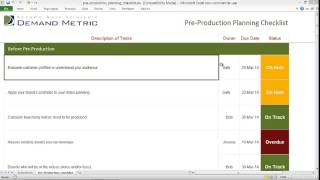 Download Pre Production Planning Checklist Video