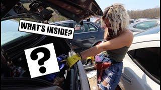 Download LOOK WHAT WE FOUND?!?! - Treasure Hunting Car Trunks At Junkyard! Video