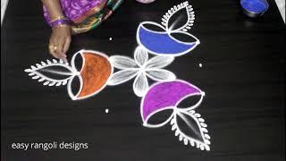 Download How to draw Diwali festival diya rangoli kolam designs || deepavali muggulu Video