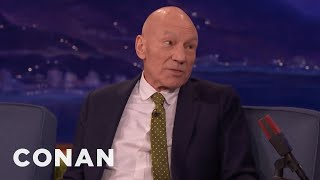 Download Sir Patrick Stewart Felt Safe In Hugh Jackman's Arms - CONAN on TBS Video