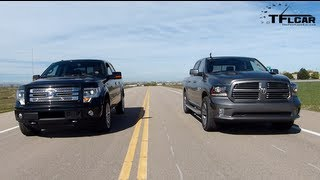 Download 2013 RAM 1500 vs Ford F-150 Drag Race & Burnout Mega Pickup Mashup Video