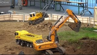 Download RC Trucks Construction Site 1/3 Excavator Baustelle Bagger LKW ♦ Modellbaumesse Wels 2016 Video