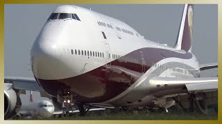 Download Qatar VIP Boeing 747-8 VQ-BSK departing Hamburg Airport Video