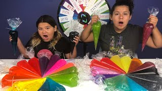 Download PIPING BAG SLIME 3 COLORS OF GLUE SLIME CHALLENGE MYSTERY WHEEL OF SLIME EDITION Video