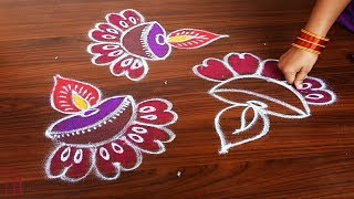 Download simple deepam rangoli design for beginners with 7dots made easy to draw for everyone Video