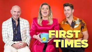 Download Nick Jonas, Kelly Clarkson, And Pitbull Tell Us About Their First Times Video
