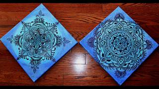 Download Step by Step Beautiful Mandala on the Blue Canvas (Set of 2)-Part 2 Video