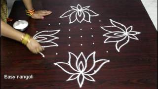 Download beautiful lotus kolam designs with 11 dots || easy rangoli designs with dots || muggulu designs Video