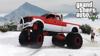 Download MONSTER SANDKING DUALLY SNOWY OFF-ROADING! 4x4 Hill Climbing & Mudding (GTA 5 PC Mods) Video