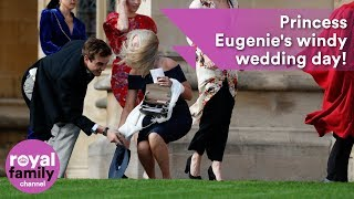 Download Hold on to your hats! Princess Eugenie's windy wedding Video