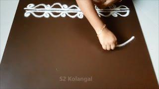 Download 2 Simple rangoli border design / muggulu border / border kolam Video