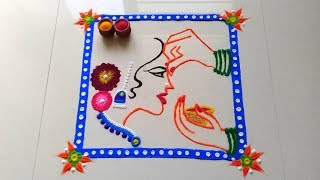 Download Haldi Kumkum Sankranti Special Rangoli Design..संक्रांती विशेष रांगोळी..| Rangoli & Crafts by Aashu Video