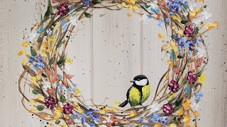 Download Easy Autumn Wreath with Bird Acrylic Painting LIVE Tutorial Video