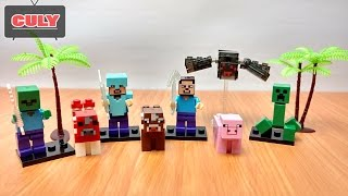 Download LEGO Minecraft My World spider, pig, cow, creepy, zombi - brick toy for kid Video