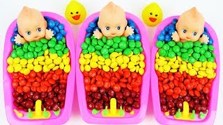 Download Learn Colors M&M's Chocolate Baby Doll Bath Time Nursery Rhymes Finger Family Song For Children Video