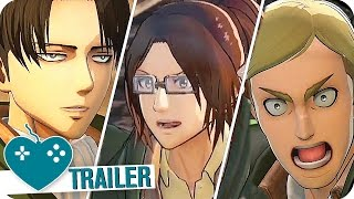 Download ATTACK ON TITAN: WINGS OF FREEDOM Levi, Hange & Erwin Character Trailers (2016) Video