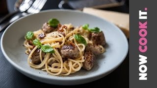 Download Easy Sausage Spaghetti Carbonara Recipe! | Now Cook It Video