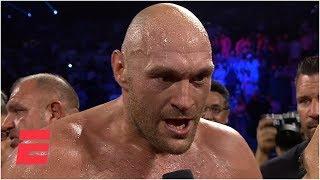 Download Tyson Fury screams 'bring em all on' after KO of Tom Schwarz | ESPN Boxing Video