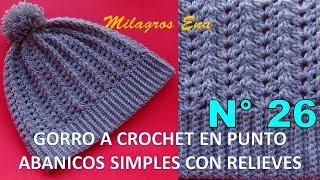 Download Gorro Unisex a crochet en puntos Abanicos simples y relieves paso a paso DIFERENTES EDADES Video