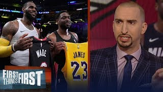 Download Nick Wright reacts to LeBron James & Dwyane Wade's last on-court meeting | NBA | FIRST THINGS FIRST Video