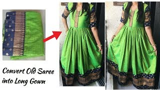Download Convert Old Saree into Designer Party Wear Long Gown   English Subtitles   Reuse old Saree Video