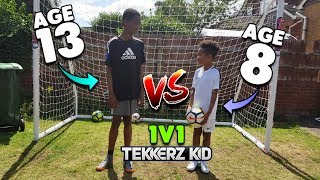 Download 13 YEAR OLD vs 8 YEAR OLD! Who Will Win?? | 1v1 Football Challenge!! Video