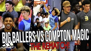 Download Big Ballers DOUBLE OT REMATCH vs COMPTON MAGIC! LaMelo IMPRESSES Lonzo & Swaggy P! Video