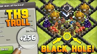 Download Clash of Clans | BEST TH9 Black Hole Troll Base in 2017 | FUNNY LOWER LEAGUE NOOB TROLLING!! [CoC] Video