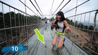 Download Top 10 Glass Bridges Funny Moments on Glass Walkway China Video