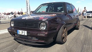 Download 1300HP VW Golf 2 R33 Turbo - 332 KM/H Topspeed @ 1/2 Mile Acceleration!! Video