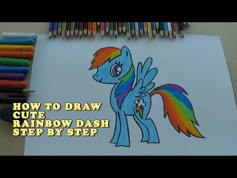 How to Draw Rainbow Dash - Step by step video. Cara menggambar rainbow dash