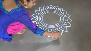 Download Saraswati puja special Alpana designs // Easy rangoli Desiogns // kolam designs // muggulu designs Video