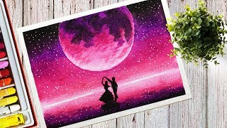 Download How to draw a Beautiful Purple Moonlight Scenery With Oil Pastel Step by Step Video