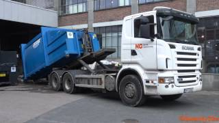 Download 4K| Scania R500 Hook Lift Picking Up Compactor Video