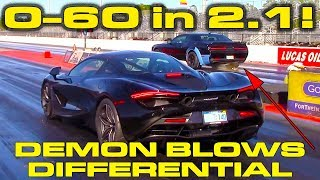 Download 0-60 MPH in 2.1 Seconds in McLaren 720S vs Demon that Blows Differential Video