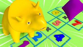 Download Обучающий мультфильм - Спецвыпуск снова в школу - Дино и Дина играют в классики и учат числа Video