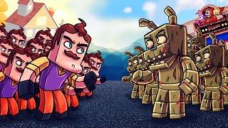 Download Minecraft | 500 Neighbors vs 35 Springtraps! (Hello Neighbor Massive Mob Battles) Video