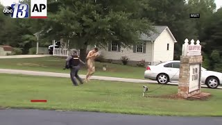 Download Manhunt ends with capture of naked man Video