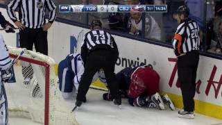 Download Foligno takes worst of crash into boards with Komarov Video