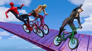 Download EXTREME RACES! (Funny Superhero Contest Videos w/ Harley Quinn Joker Spiderman BMX CARS Motorcycles) Video