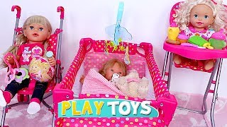 Download Baby Doll House Toys - Play baby doll bedroom bed, cradle, high chair, pink stroller nursery toy set Video