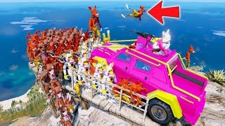 Download RUNNING OVER ALL THE FOXYS OFF A MOUNTAIN! (GTA 5 Mods For Kids FNAF Funny Moments) Video