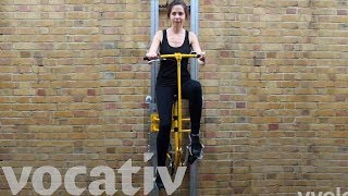 Download Bike Up A Wall Instead Of Using An Elevator Video