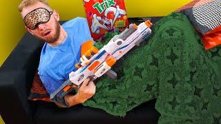 Download NERF Don't Wake Daddy | Breakfast Surprise Challenge! Video