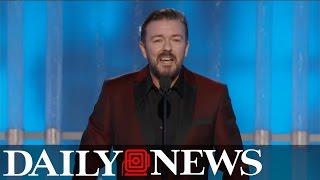 Download Ricky Gervais burns Hollywood elite at Golden Globes Video