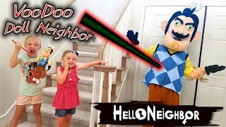 Download Hello Neighbor in Real Life VooDoo Doll! We Put JoJo Siwa Bows on Him!! Video