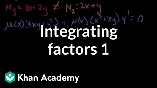 Download Integrating factors 1 | First order differential equations | Khan Academy Video